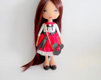 MinnieMouse Dolls Ragdolls Art Dolls Ooak dolls Personalized Birthday Gift for daughter Cloth Dolls Fabric Dolls Soft Toys Decor Stuffed Toy