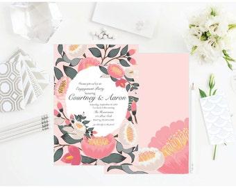 PRINTABLE Floral invitation, Bridal Shower, Wedding, Bachelorette party, Engagement Party