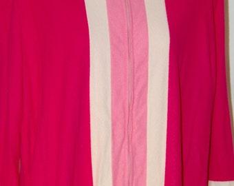 70s Velour Plush Pibnk stripe robe zipper Large XL Vintage