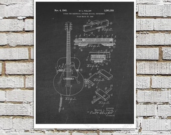 Vintage Gibson Electric Guitar Pickup Patent Print #1 Black Chalkboard Art Gibson Guitar Patent art print Electric Guitar Gift for Musician