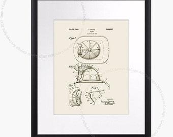 Fireman Helmet poster. Firefighter print #2 Fire Department Decor Fireman gift. Firefighter Helmet Invention Patent Drawing. Boys Room Art,