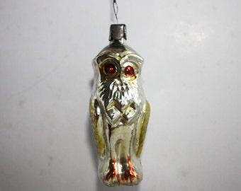 RARE eagle-owl glass Christmas tree toy, vintage, Antique Christmas ornament