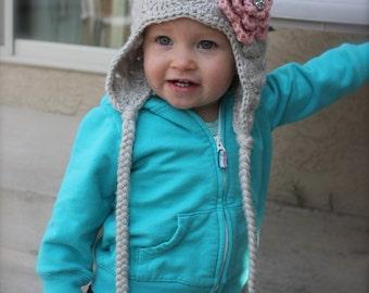 Crochet hat with flower for baby, infant, newborn, newborn prop
