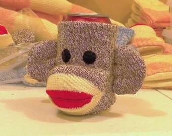 Sockey the Brown Sock Monkey Beverage Holder by monSOCKeys, Handmade Red Heel Sock Monkey, Brown Monkey, Beverage Holder, Can/Bottle Cover