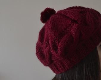 Hand Knit Burgundy Beanie Hat, Knit Hat, Knit Beanie, Head Warmer, Pom Pom Hat, Pom Pom Beanie, Slouchy Hat, Slouchy Beanie