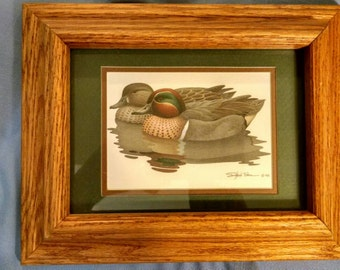 Green-Winged Teal Duck print, Signed by Richard Sloan and Dated 1981, Great Country/Rustic Charm