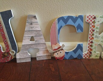 Cowboy and Indians Boy Nursery Letters; Boys Letters; Boys Wall Letters