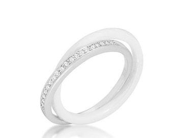 Double Band White Ceramic Eternity Ring   .925 Sterling Silver and White Ceramic Eternity Band