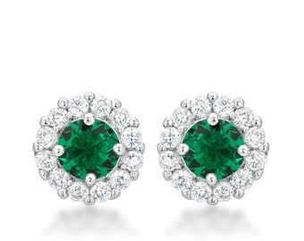 Bella Bridal Emerald Green Earrings | Bridal Earrings with Round Cut Emerald Green Cubic Zirconia and Post Backing