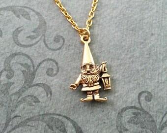 Gnome Necklace SMALL Gold Lawn Gnome Jewelry Garden Gnome Gift Lantern Necklace Fantasy Necklace Gnome Pendant Gnome Charm Bridesmaid Gift