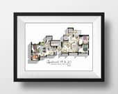 Friends TV Show Apartment Floor Plan- Friends TV Show Layout- The one with the speechbubbles-Apartment of Chandler,Monica and Rachel