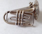 vintage sterling French horn pin, studio piece, artisan made
