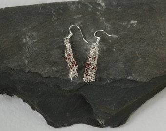Knitted wire earrings, mauve beaded earrings,