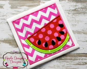 Watermelon with Frame Applique Machine Embroidery Design, Summer, Spring, Girl, Boy, Fruit,  Food, 5x7, 6x10, 9x9