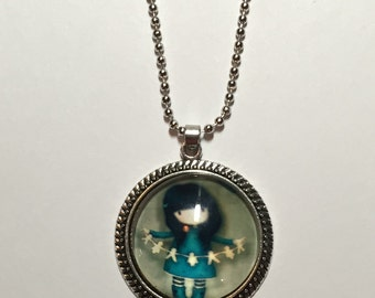 Girl's Little Girl Glass Pendant Necklace ON SALE