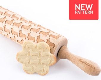 Welsh Corgis Pembroke - geprägt, graviert Nudelholz für cookies