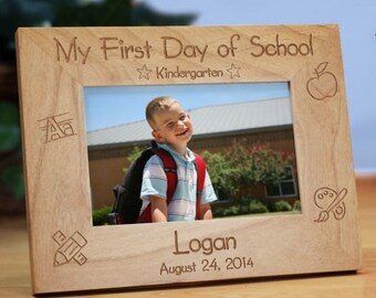 First Day of School Engraved Wood Frame