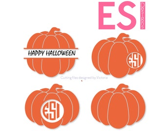 Pumpkin SVG, DXF, EPS, circle monogram cutting files bundle. Solid pumpkin, for use with Silhouette Studio and Cricut Design Space.