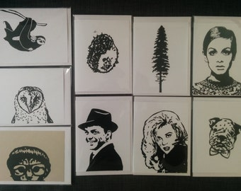 Save on a 4 Pack of Hand Printed Cards (black ink)!