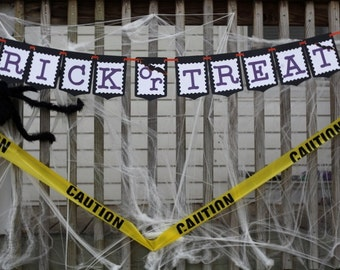Trick or Treat Banner - halloween decorations - party supplies - hanging decor