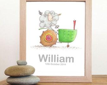 childrens wall art - boy name print - green tractor - childrens keepsake - nursery art