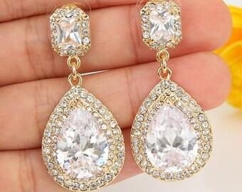 Gold Earrings- Gold Wedding Earrings- Gold tone Bridesmaids Earrings- Bridesmaids Earrings-Gold Bridal Earrings-Crystal Gold Bridal Earrings