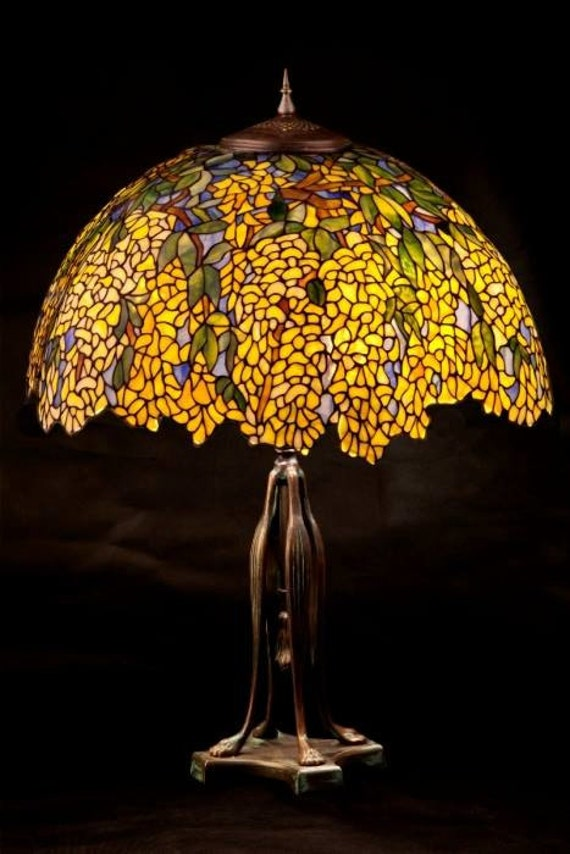 Laburnum yellow stained glass floral lamp. Tiffany lampshade. Yellow Laburnum Tiffany table lamp. Laburnum bedside lamp.
