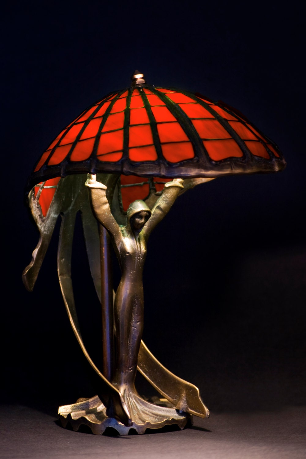 Red Lamp Red Lamp Shade Art Nouveau Lamp Home Decor