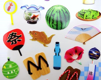 Japanese culture real photograph stickers - summer items - ramune soda & shaved ice - koi - fans - geta sandals - watermelon - furin - beer