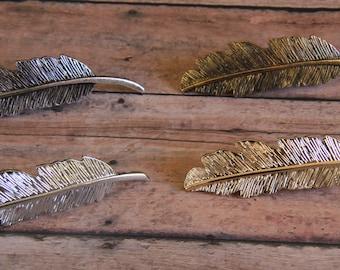 Gold Feather Hair Clip, Feather Hair Clip, Feather Barrette, Gold Leaf Hair Clip, Gold Lead, Gold Feather, Feather Hair Pin, Boho Clip
