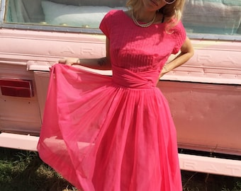 SALE Vintage 1950s New Look Pink Party Dress Mad Men MCM 50s S