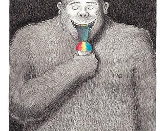 Bigfoot Print, Sasquatch Print, Rainbow Snow Cone, Funny Bigfoot, Sasquatch humor, Funny Print, Outdoor Humor,