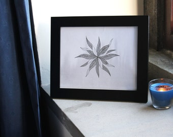 Hand drawn leaves with grey water colour background