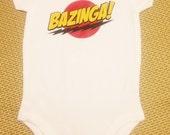 """White Baby Onesie Big Bang Theory """"BAZINGA!"""""""