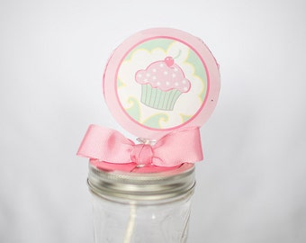 Cupcake Whirly Pop. Party Favor. Lollipop. Pink. Strawberry Flavored.