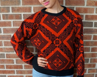 Vintage Tribal Print Sweater // 90's Red & Black Tribal Print Sweater