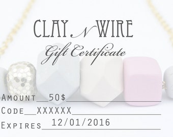 Gift Certificate, Gift Card, Shop Credit for Clay N Wire Jewelry
