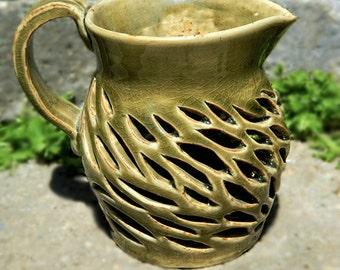 Olive Ceramic Cut-out Pitcher