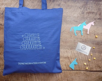 Charlie The Unicorn #2 : The Pink Unicorn & The Blue Unicorn - hand-embroidered blue cotton tote bag