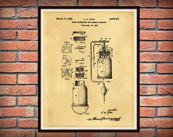 Patent 1940 Blood Transfusion Apparatus - Art Print -  Medical - Doctors Office - Physician Wall Art - Nurse Art  - Operating Surgeon Art