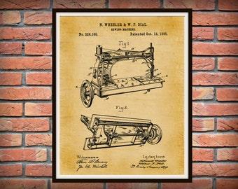 Patent 1885 Sewing Machine Art Print - Poster Print - Wall Art - Seamstress Art - Sewing Room Art