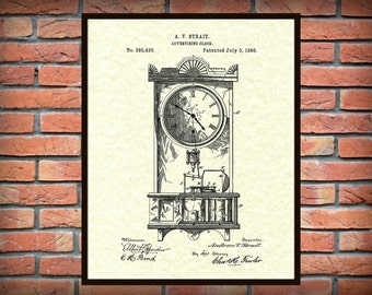 Patent 1888 Clock Art Print - Poster Print - Wall Art- Grandmothers Clock - Antique Clock - Mantle Clock - Time Piece - Advertising Clock