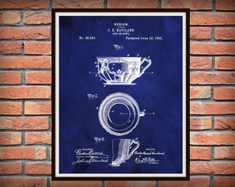 Patent 1898 Haviland Limoges Cup - Bowl Design Patent Art Print Poster Limoges France Wall Decor Kitchen Item
