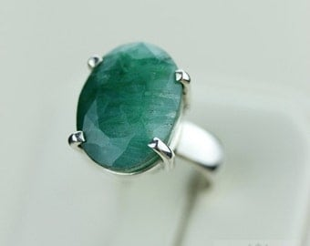 SIZE 5 AFRICAN EMERALD (Nickel Free) 925 Fine S0LID Sterling Silver Ring & Free Worldwide Express Shipping r1241
