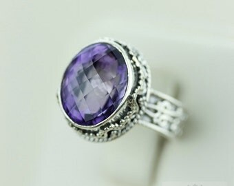 Size 5 Vintage FILIGREE GENUINE AMETHYST (Nickel Free) 925 Fine S0LID Sterling Silver Ring & Free Worldwide Express Shipping r1485