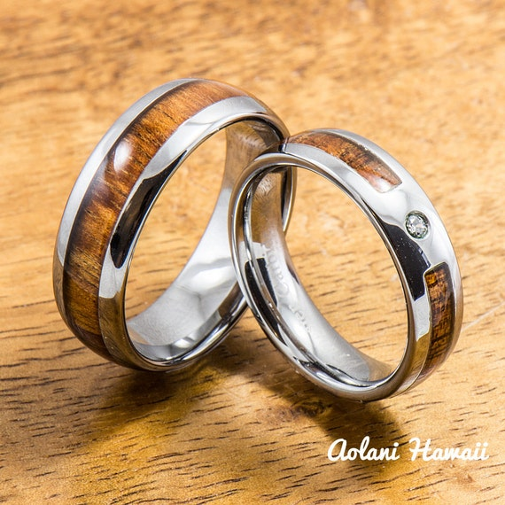 Wedding band set of tungsten rings with hawaiian by for Hawaiian wedding ring sets