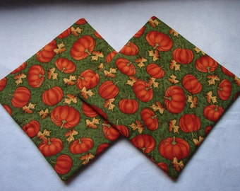Pumpkin Potholders, Fabric Potholders, 2  Pumpkin Potholders, Set Of Potholders, Fall Potholder Set, Hostess Gift, Harvest Potholders