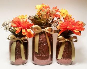 Fall Mason Jar Centerpieces, Thanksgiving Decorations, Rustic Fall Decorations, Fall Wedding Centerpieces, Halloween Party, Set of 3
