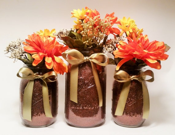 Fall bridal shower decor mason jar centerpieces