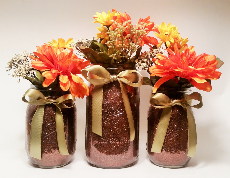 Fall Bridal Shower Decor Mason Jar Centerpieces Thanksgiving Decorations Rustic